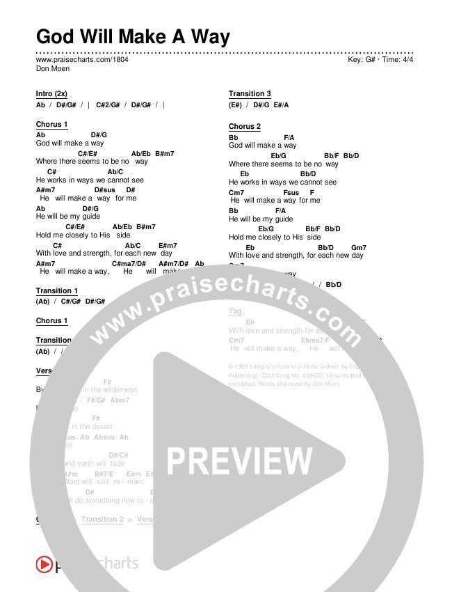 God Will Make A Way Chords & Lyrics (Don Moen)