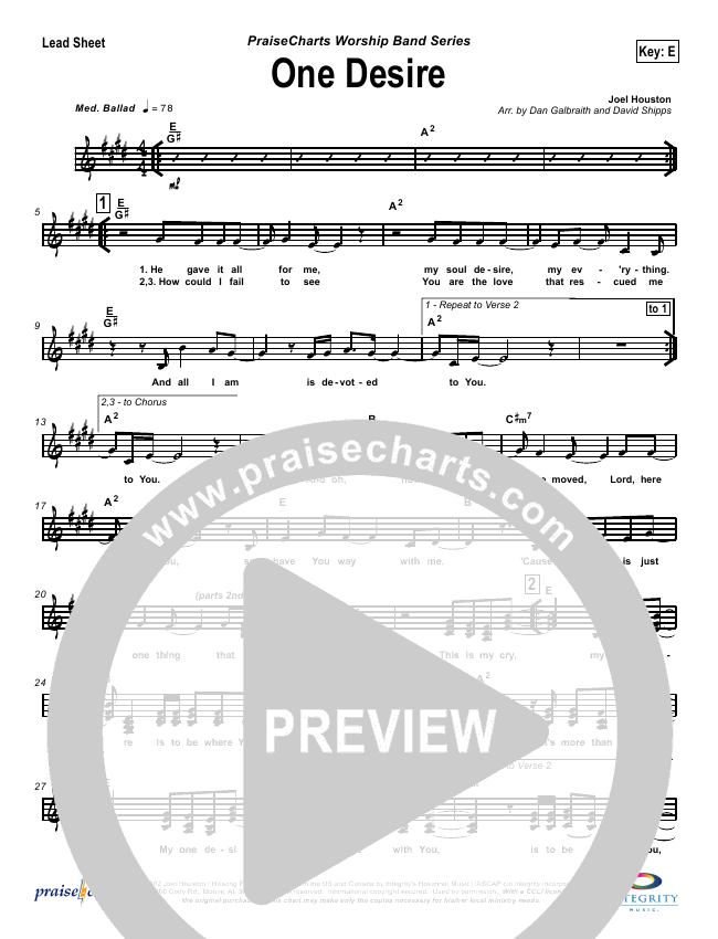One Desire Orchestration Hillsong Worship Praisecharts
