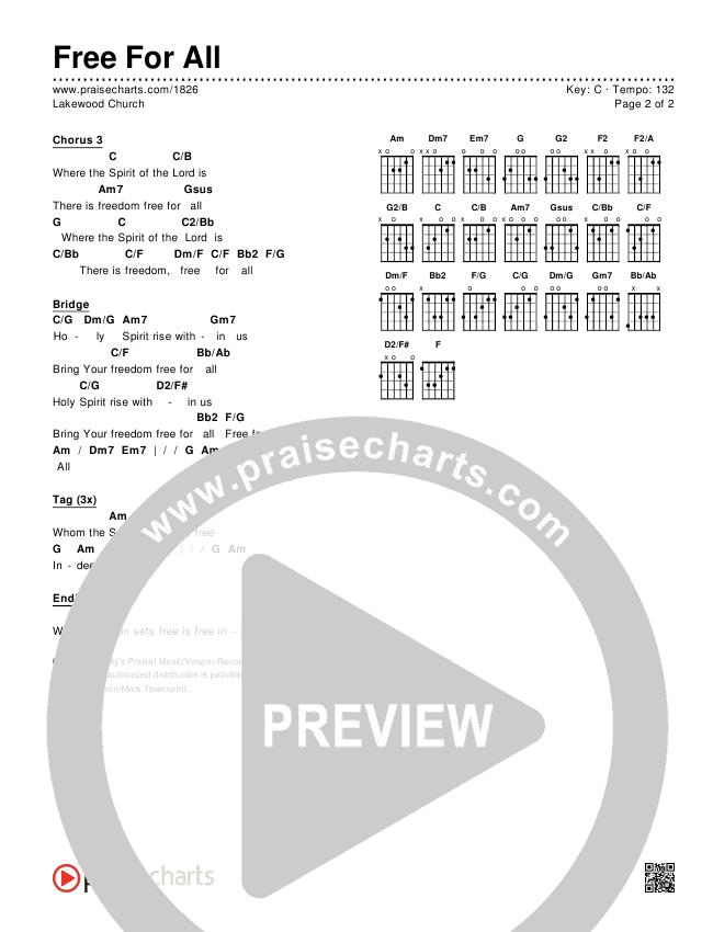 Free For All Chords & Lyrics (Lakewood Church)