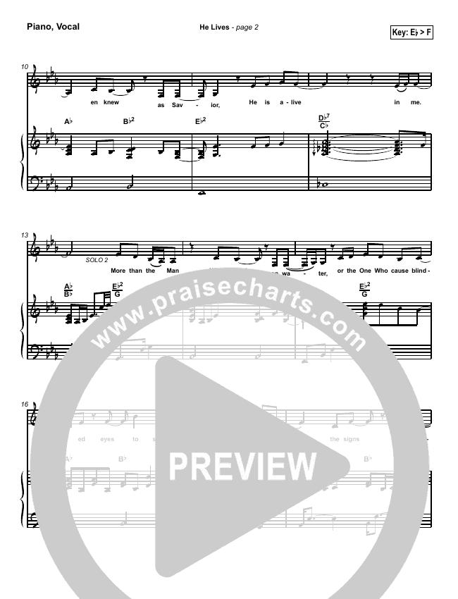 He Lives Piano/Vocal (SATB) (Lakewood Church)