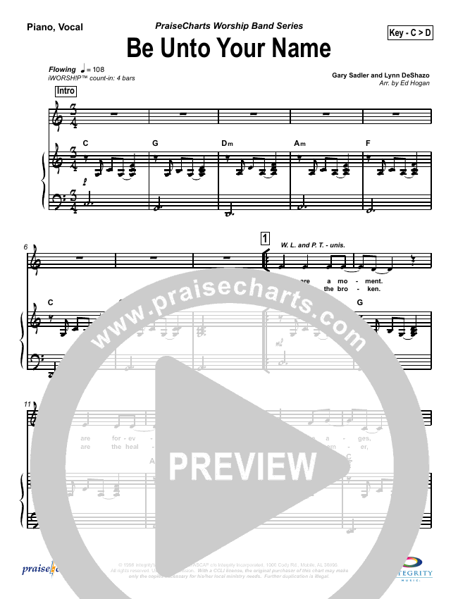 Be Unto Your Name Piano/Vocal (SATB) (Robin Mark)