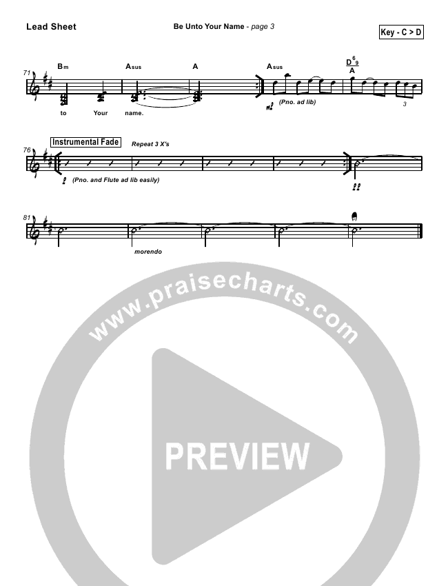 Be Unto Your Name Lead & Piano/Vocal (Robin Mark)