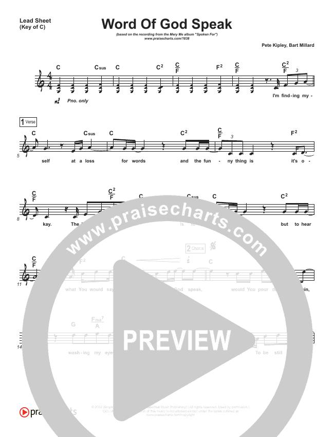 Word Of God Speak Lead Sheet (Melody) (MercyMe)