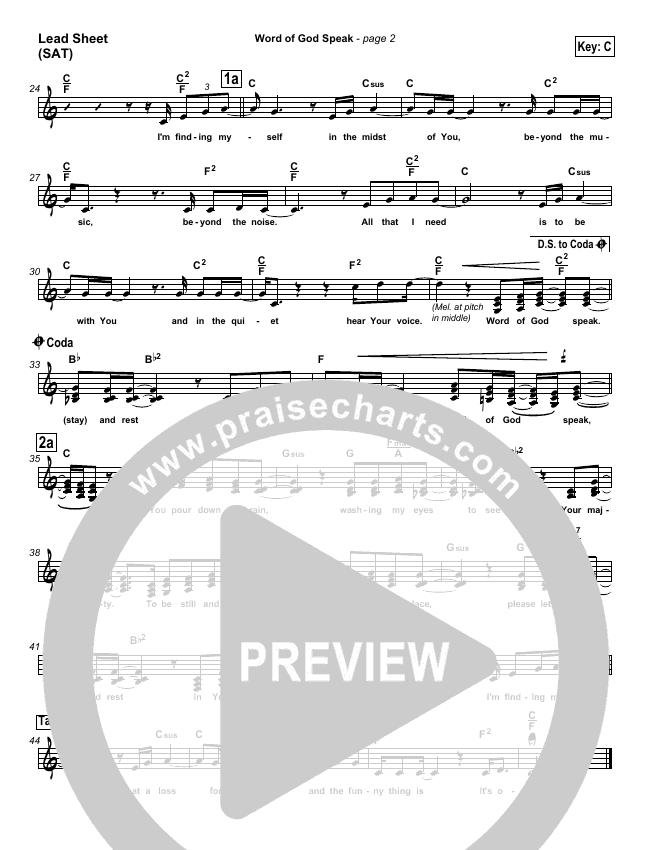 Word Of God Speak Lead & Piano/Vocal (MercyMe)