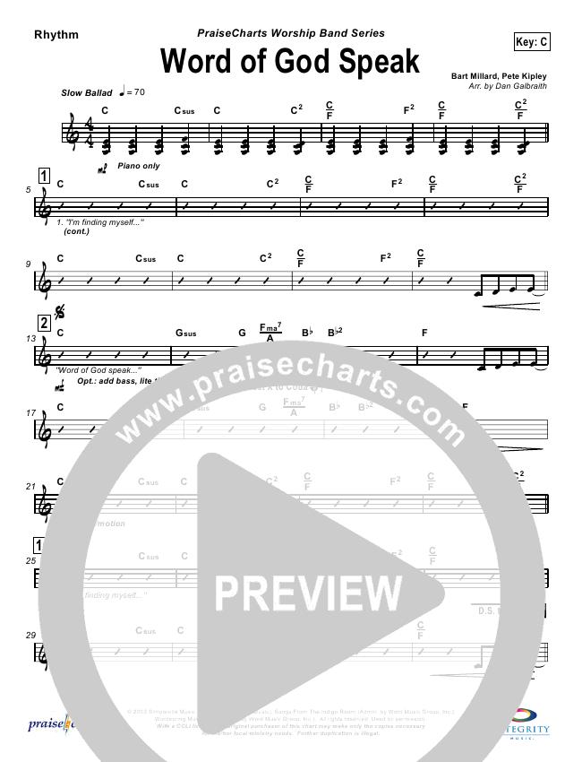 Word Of God Speak Rhythm Chart (MercyMe)