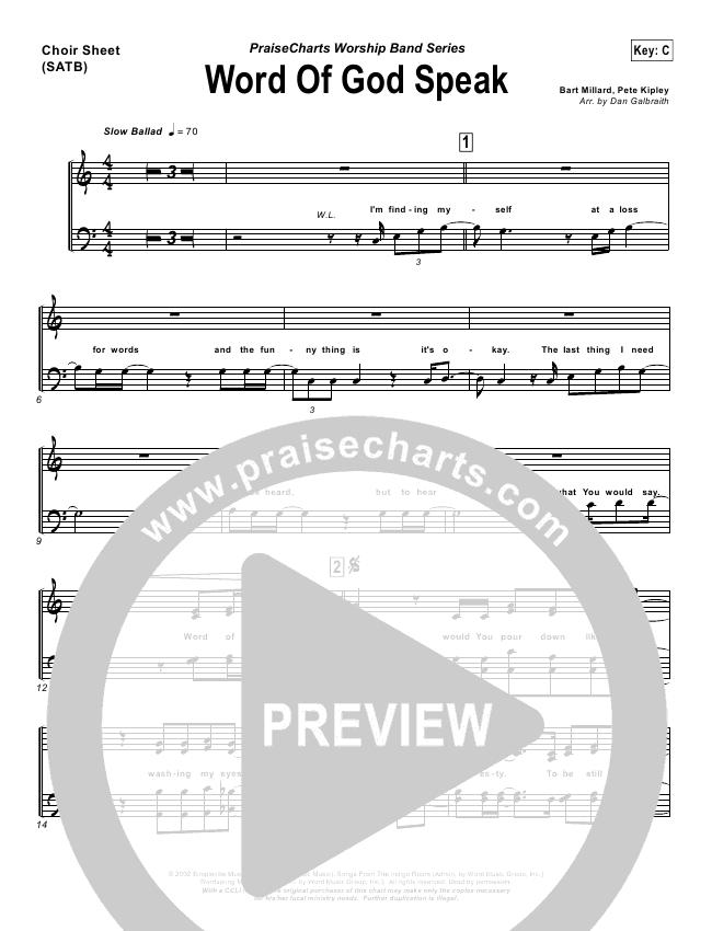 Word Of God Speak Choir Sheet (SATB) (MercyMe)