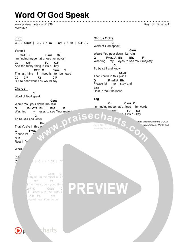 Word Of God Speak Chords & Lyrics (MercyMe)