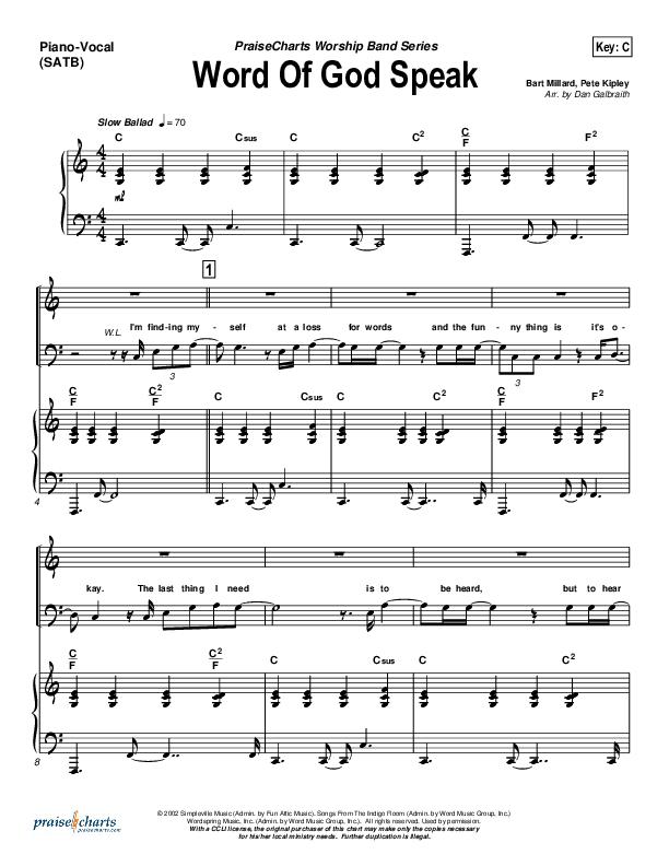 Word Of God Speak Piano/Vocal (SATB) (MercyMe)