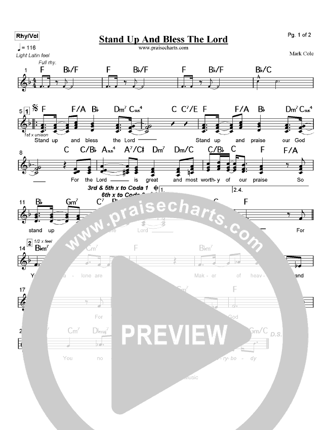 Stand Up and Bless the Lord Lead Sheet (Mark Cole)