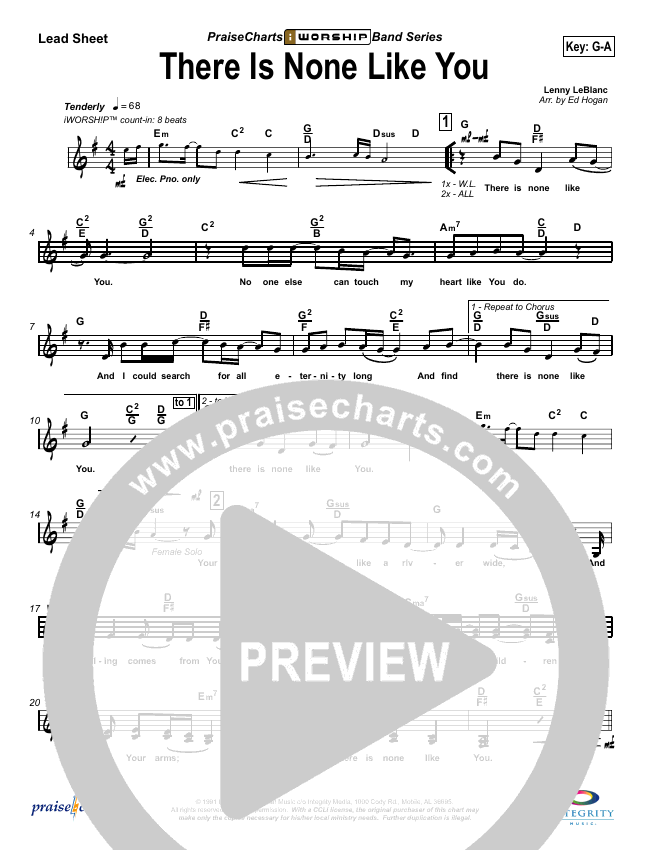 There Is None Like You Lead Sheet (SAT) (Lenny LeBlanc)