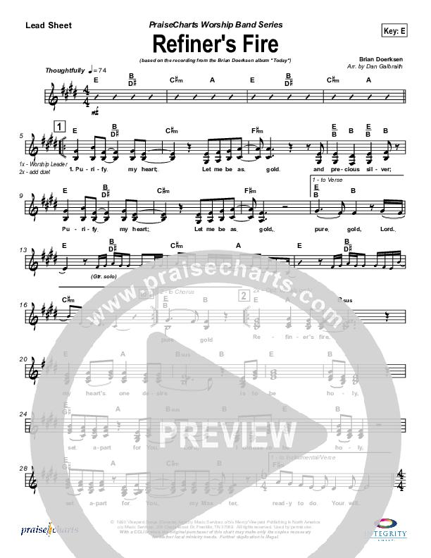 Refiner's Fire Lead Sheet (SAT) (Brian Doerksen)