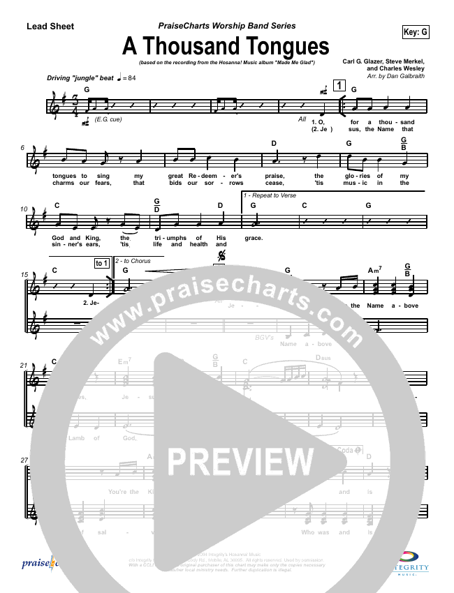 A Thousand Tongues (O For a Thousand Tongues) Lead Sheet (SAT) (Michael Neale)