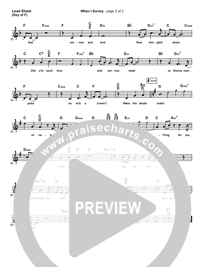 When I Survey (The Wondrous Cross) Lead Sheet (Melody) (Kathryn Scott)