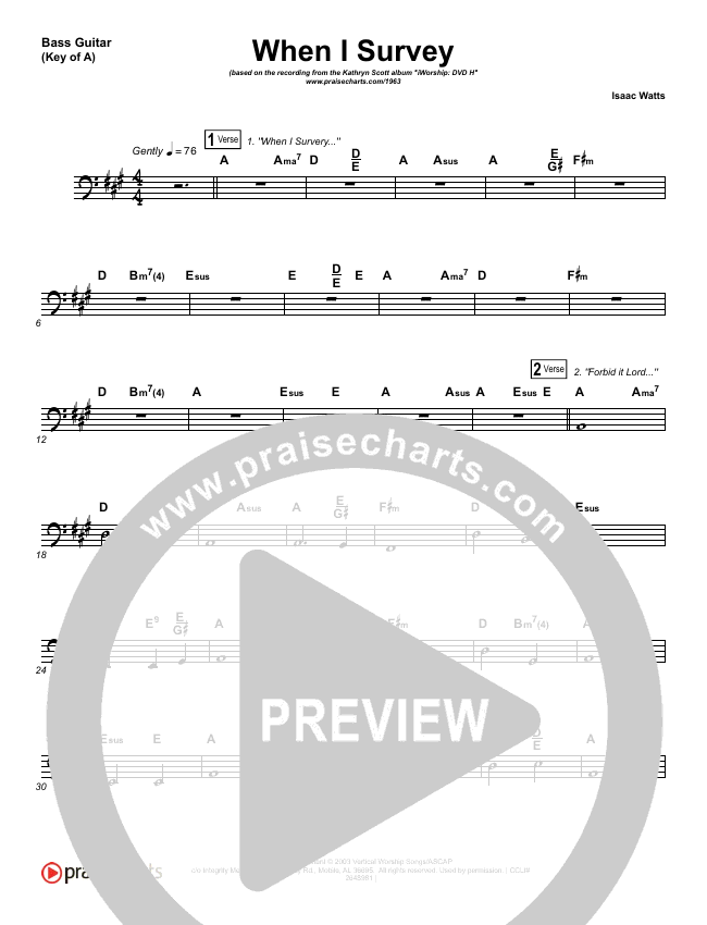 When I Survey (The Wondrous Cross) Bass Guitar (Kathryn Scott)
