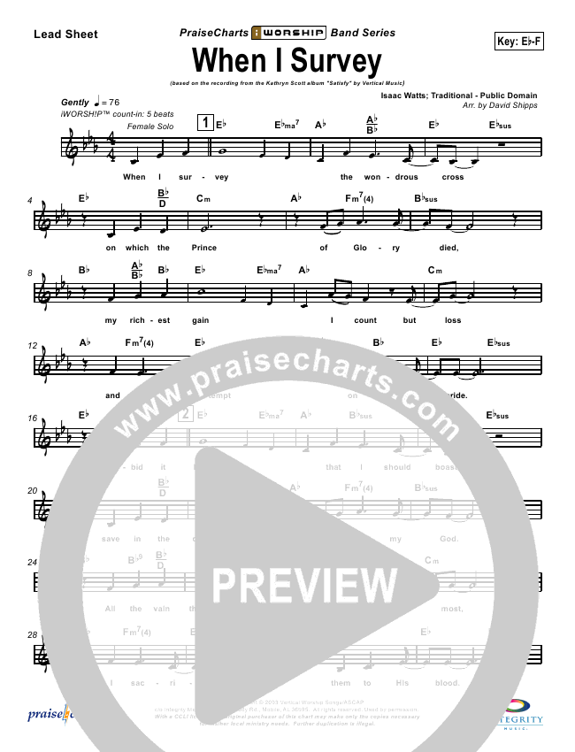 When I Survey The Wondrous Cross Lead Sheet Pianovocal
