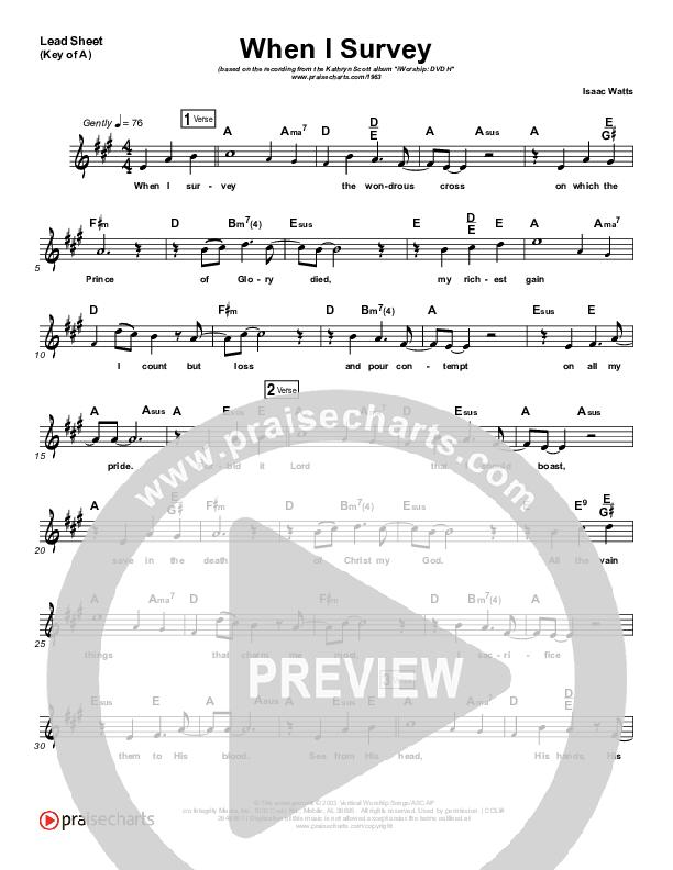 When I Survey (The Wondrous Cross) Lead Sheet (Melody) (Kathryn Scott)