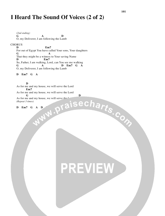 I Heard the Sound of Voices Chord Chart (Robin Mark)