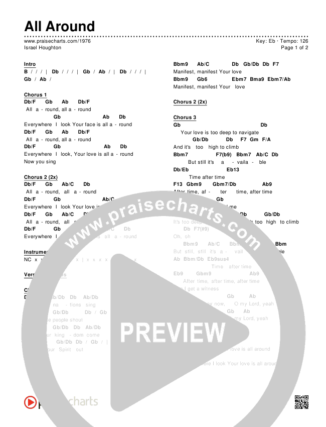 All Around Chords Israel Houghton Praisecharts