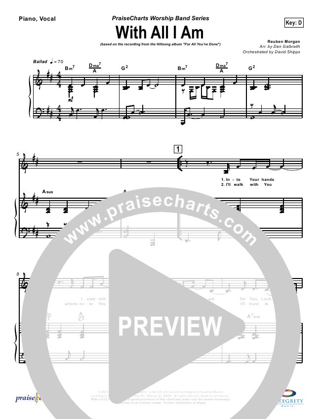 With All I Am Lead Sheet Pianovocal Hillsong Worship Praisecharts