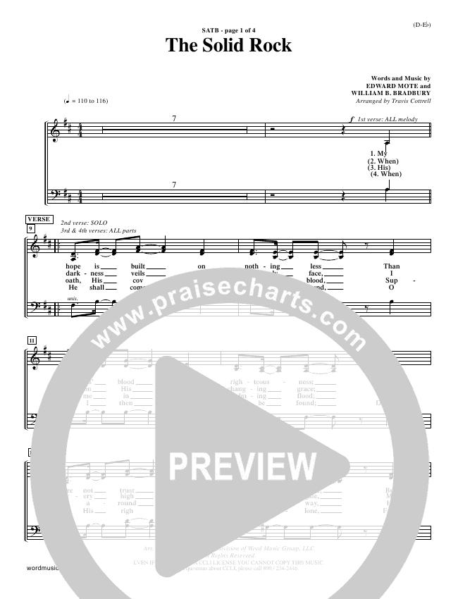 The Solid Rock Choir Sheet (SATB) (Travis Cottrell)