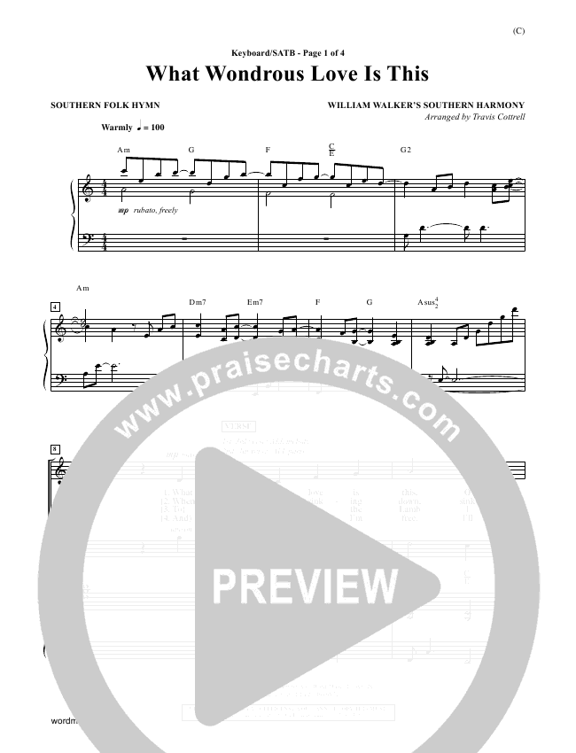 What Wondrous Love Is This Choir Sheet (SATB) - William Walker ...