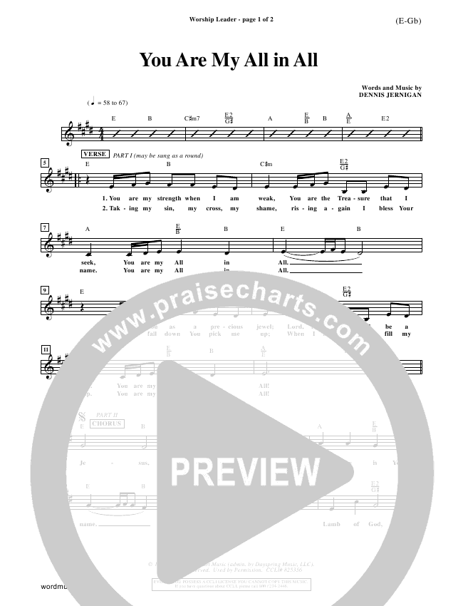 You Are My All In All Lead Sheet (Dennis Jernigan)