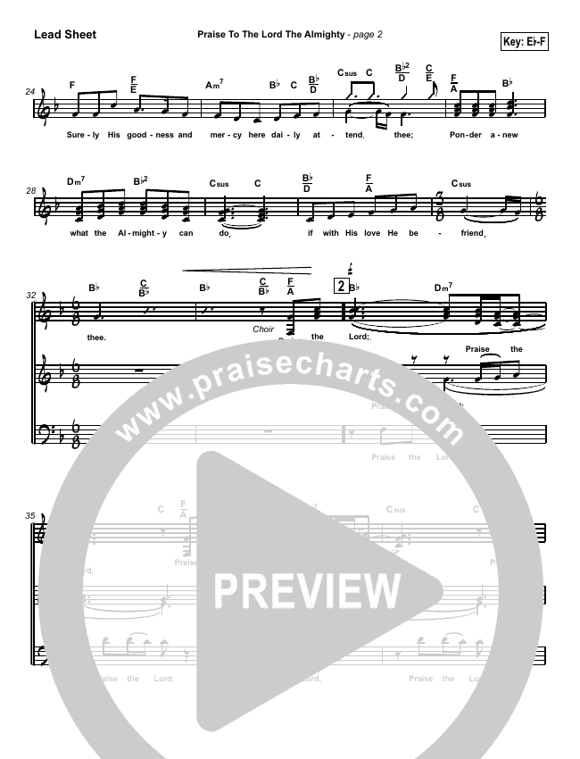 Praise To The Lord The Almighty Lead Sheet (SAT) (Travis Cottrell)
