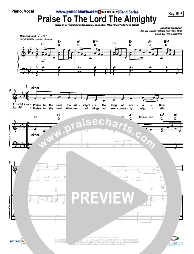 Praise To The Lord The Almighty Piano/Vocal (SATB) (Travis Cottrell)