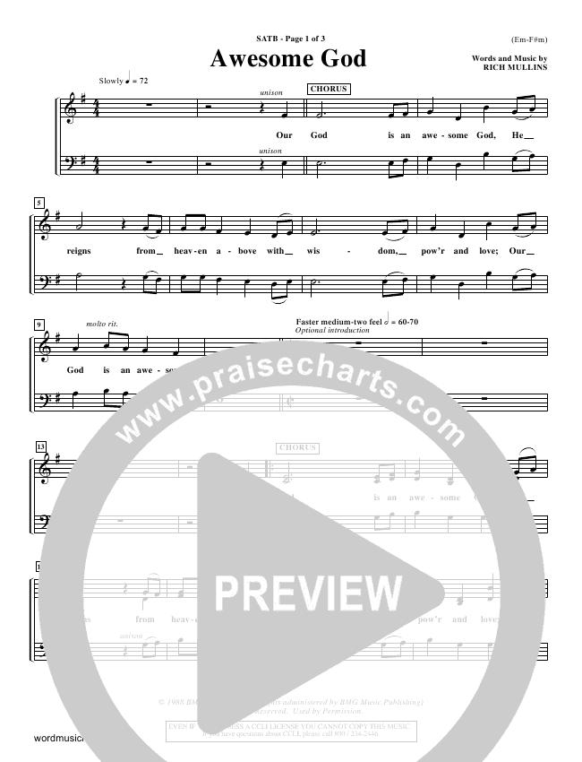 Awesome God Choir Sheet Satb Rich Mullins Praisecharts