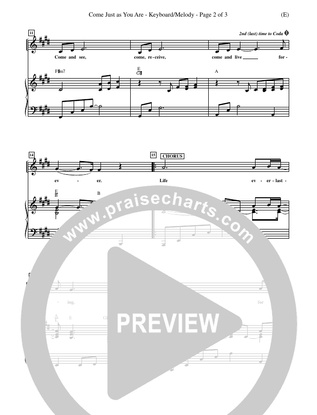 Come Just As You Are Piano Sheet (Joseph Sabolink)