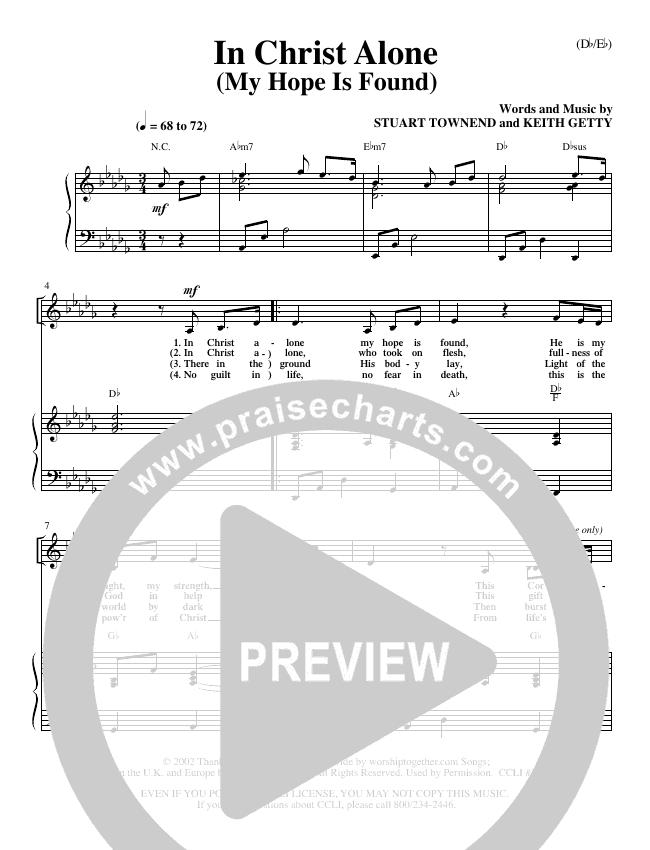 In Christ Alone Piano Sheet (Stuart Townend)