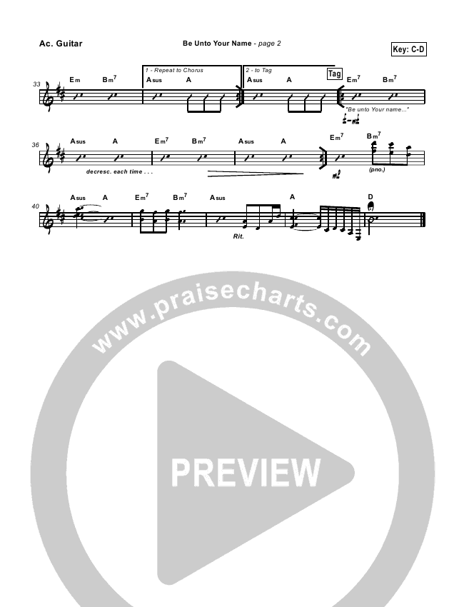 Be Unto Your Name Rhythm Chart (Travis Cottrell)