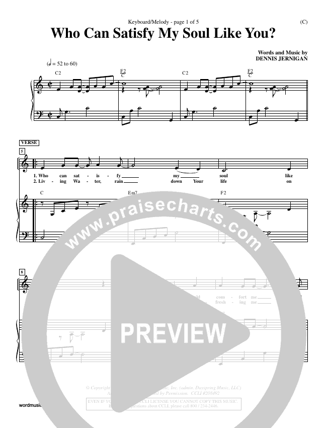 Who Can Satisfy My Soul Piano Sheet (Dennis Jernigan)