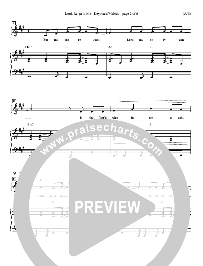 Lord Reign In Me Piano Sheet (Brenton Brown)