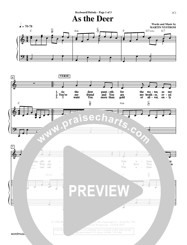 As The Deer Piano Sheet (Martin Nystrom)