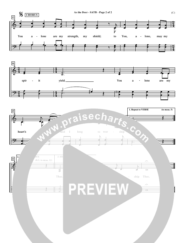 As The Deer Choir Sheet (SATB) (Martin Nystrom)