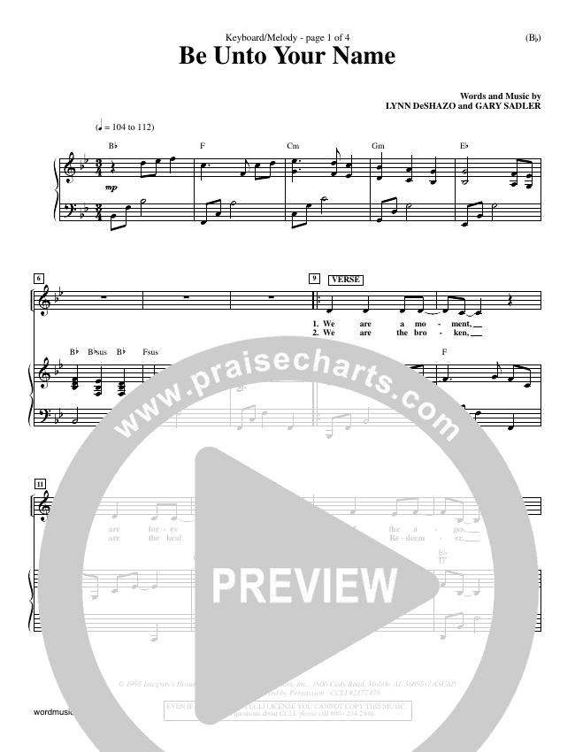 Be Unto Your Name Piano Sheet (Lynn DeShazo)