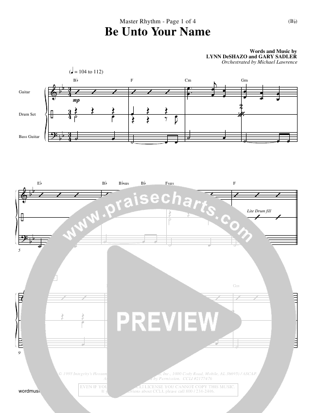 Be Unto Your Name Rhythm Chart (Lynn DeShazo)