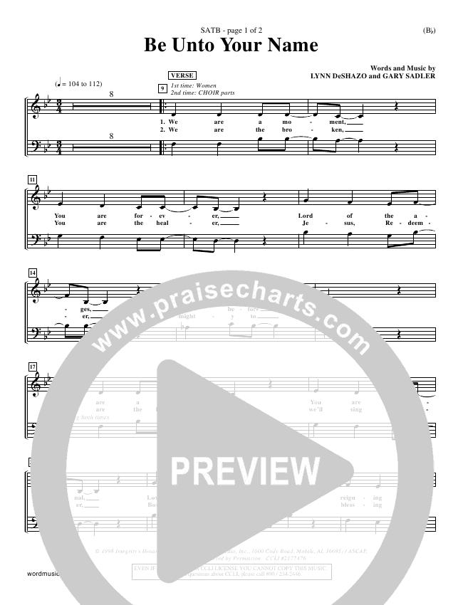Be Unto Your Name Choir Sheet (SATB) (Lynn DeShazo)
