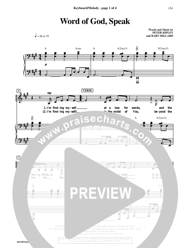 Word Of God Speak Piano Sheet (Bart Millard)