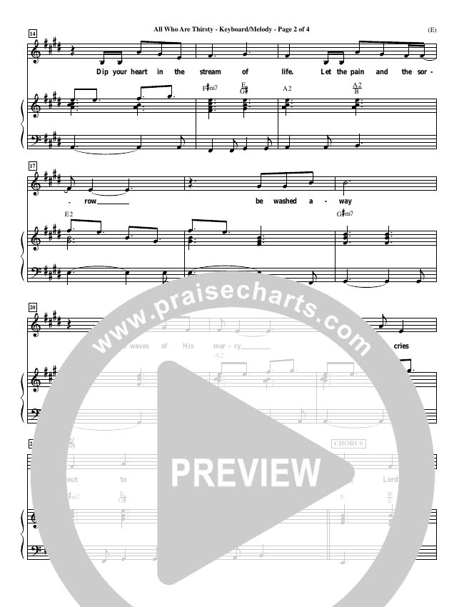 All Who Are Thirsty Piano Sheet (Brenton Brown)