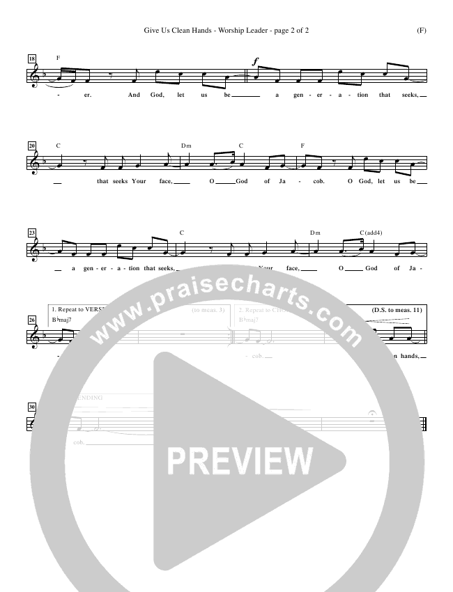 Give Us Clean Hands Lead Sheet (Charlie Hall)
