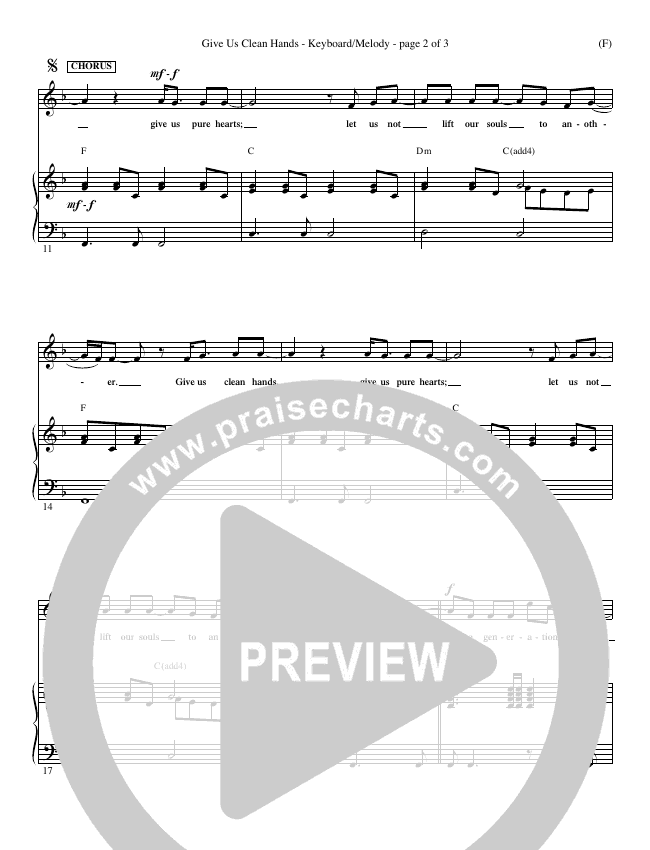 Give Us Clean Hands Piano Sheet (Charlie Hall)