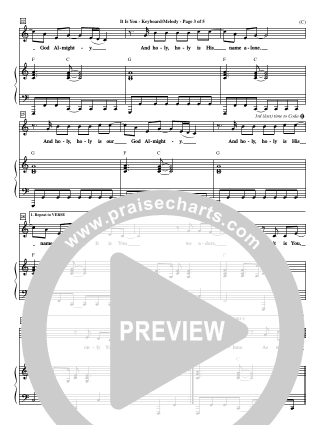 It Is You Piano Sheet (Newsboys)