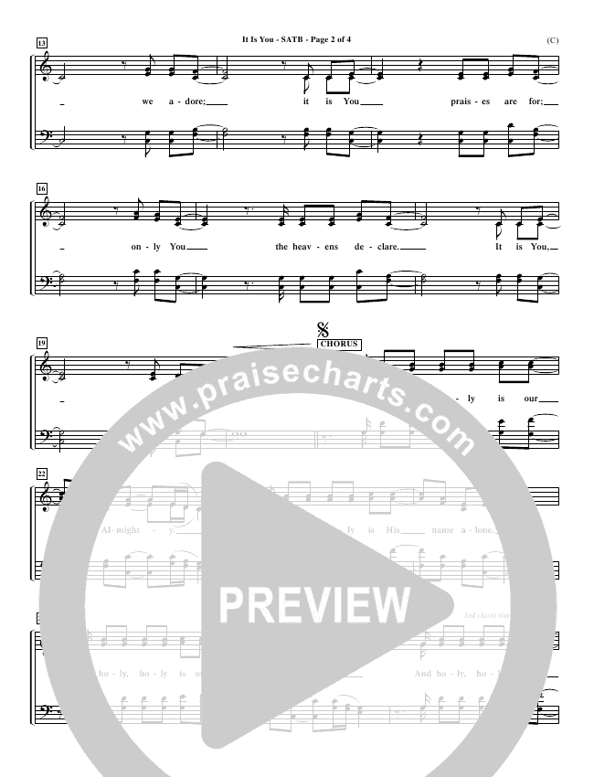 It Is You Choir Sheet (SATB) (Newsboys)