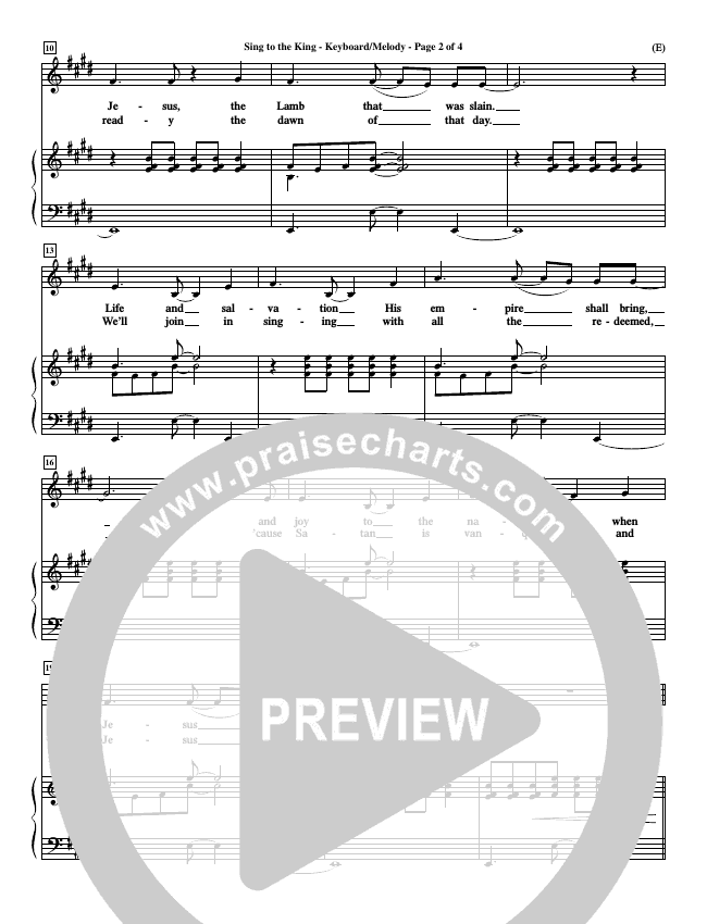 Sing To The King Piano Sheet (Billy Foote)