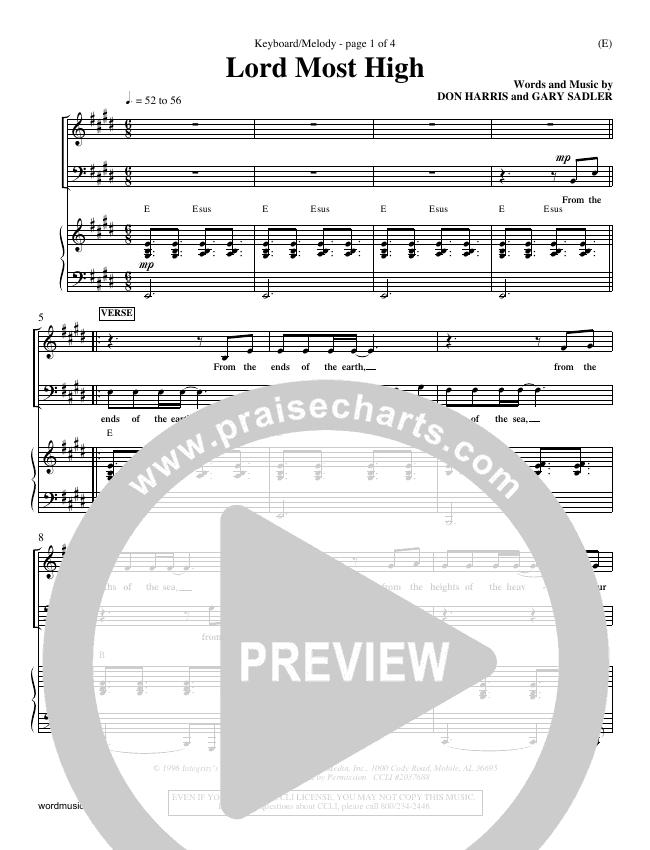 Lord Most High Piano Sheet (Gary Sadler)
