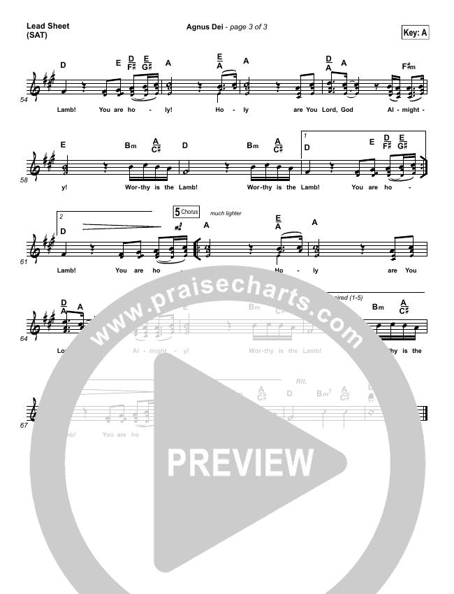 Agnus Dei Lead Sheet (SAT) (Michael W. Smith)