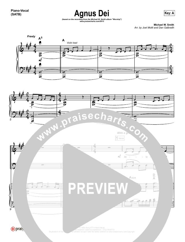 Agnus Dei Piano/Vocal (SATB) (Michael W. Smith)