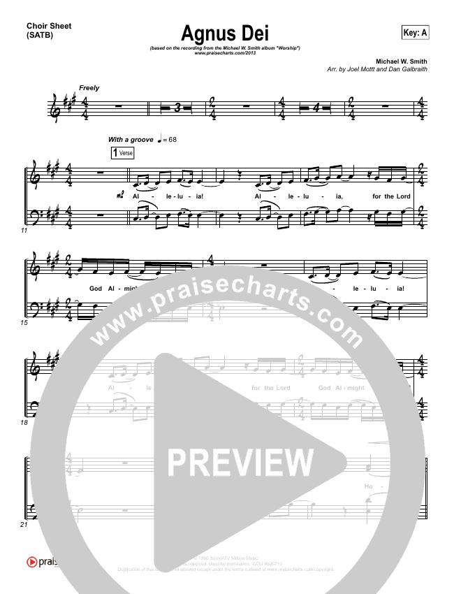 Agnus Dei Choir Sheet (SATB) (Michael W. Smith)
